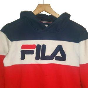 4/$25FILA Wmns Crop Hoodie Sweatshirt Logo Print M